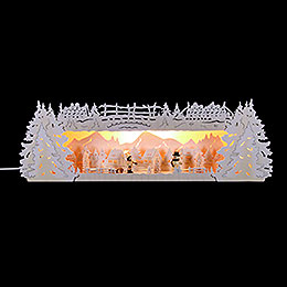 Illuminated Stand Winter Triangle with Snow for Light Triangle  -   -  54x17x15cm / 21x6.7x6 inch