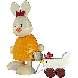 Kaninchen Emma mit Huhn - 9 cm