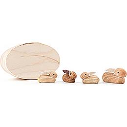 Kaninchenfamilie natur in Spandose - 3 cm