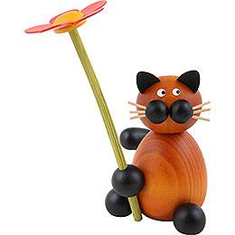 Katze Bommel mit Blume - 8 cm