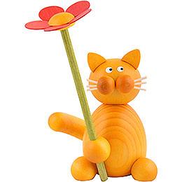 Katze Emmi mit Blume - 8 cm