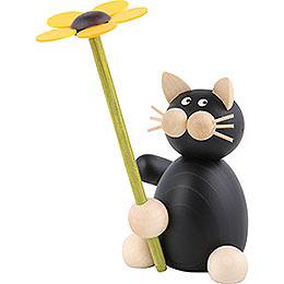 Katze Hilde mit Blume - 8 cm