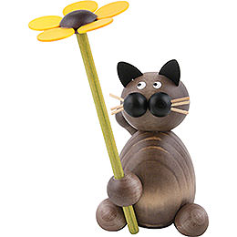 Katze Karli mit Blume - 8 cm