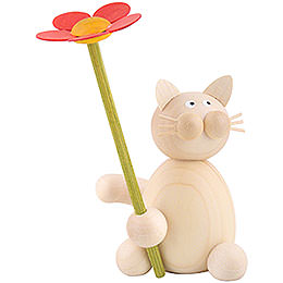 Katze Moritz mit Blume - 8 cm