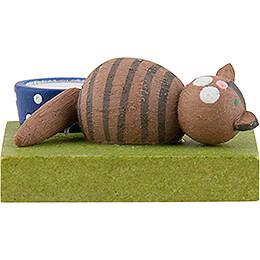 Katze braun schlafend - 1 cm