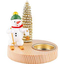 Kerzenhalter Schneemann mit Schneeschuh - 10 cm