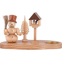 Kerzenhalter Schneemann mit Vogelhaus natur - 11 cm