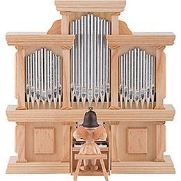 Kurzrockengel Engel an der Orgel mit Spielwerk, natur - 15,5 cm
