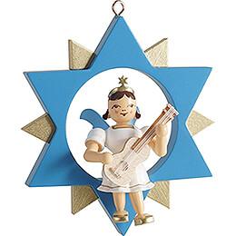 Kurzrockengel mit Gitarre im Stern, farbig - 9 cm