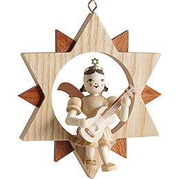 Kurzrockengel mit Gitarre im Stern, natur - 9 cm
