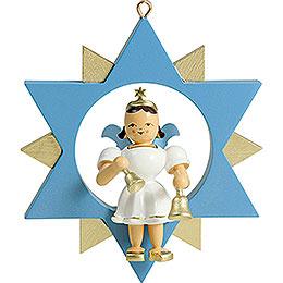 Kurzrockengel mit Glocken im Stern, farbig - 9 cm