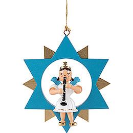 Kurzrockengel mit Klarinette im Stern, farbig - 9 cm