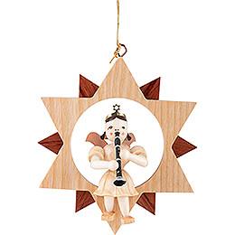 Kurzrockengel mit Klarinette im Stern, natur - 9 cm