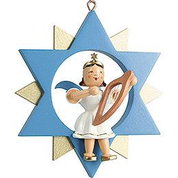 Kurzrockengel mit Leier im Stern, farbig - 9 cm