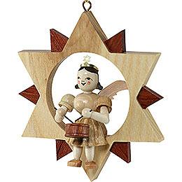 Kurzrockengel mit Trommel im Stern, natur - 9 cm