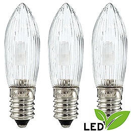 LED Rippled Bulb Clear - E10 Socket - Warm White - 0.1-0.3W