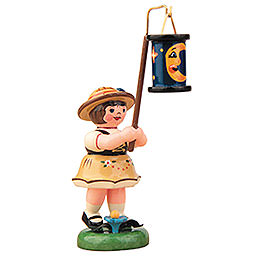 Lampion Girl with Blue Moon Lantern - 8 cm / 3 inch