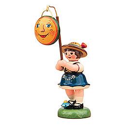 Lampionkind Mädchen mit Mond - 8 cm