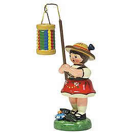 Lampionkind Mädchen mit Streifenlampion - 8 cm
