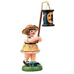 Lampionkind Mädchen mit blauen Mondlampion - 8 cm