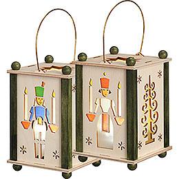 Lantern Santa Angel & Miner - 21 cm / 8 inch