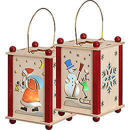 Lantern Santa Claus & Snowman - 21 cm / 8 inch