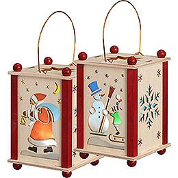 Laterne Weihnachtsmann & Schneemann - 21 cm