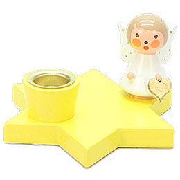 Leuchter Engel auf Stern gelb - 3 cm