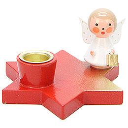 Leuchter Engel auf Stern rot - 3 cm