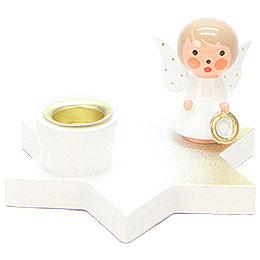 Leuchter Engel auf Stern weiß - 3 cm