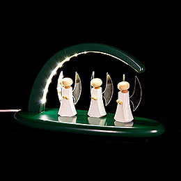 Leuchterbogen mit LED - Engel - grün - 24x13 cm