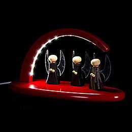Leuchterbogen mit LED - Engel - rot - 24x13 cm