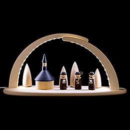 Leuchterbogen mit LED - Seiffener Kirche - 42x21x13 cm