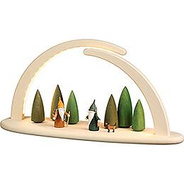Leuchterbogen mit LED - Waldszene - 42x21 cm