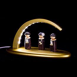 Leuchterbogen mit LED - Weihnachtssänger - gold - 24x13 cm