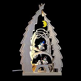 Lichterspitze Baum mit Schneemännern - 43x25x4,5 cm