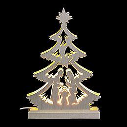 Lichterspitze Mini-Baum Krippenszene, LED - 23,5x15,5x4,5 cm