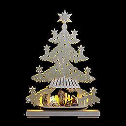 Lichterspitze Tanne Christuskind mit Krippenfiguren - 32x44x7 cm