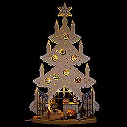 Lichterspitze Tanne Kaminzimmer mit silbernen Baumkugeln und Raureif - 42x70 cm