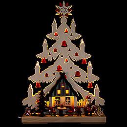 Lichterspitze Tanne Weihnachtsabend mit roten Glöckchen - 32x44 cm
