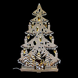 Lichterspitze Tanne mit Zapfen, Schneebällchen, Raureif - 38x72 cm
