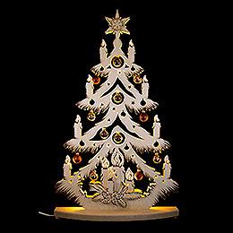 Lichterspitze Tanne mit goldenen/kupfernen Baumkugeln - 72x38 cm