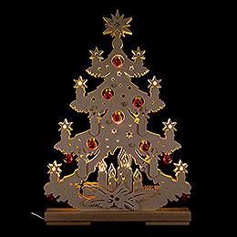 Lichterspitze Tanne mit roten Baumkugeln - 32x44 cm