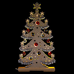 Lichterspitze Tanne mit roten/grauen Baumkugeln und Raureif - 57x30 cm