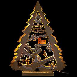 Light Triangle - Tree with Snowboarder - 34x44 cm / 13.4x17.3 inch