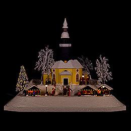 Lighted House Christmas Market, LED - 26 cm / 10.2 inch