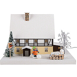 Lighted House - Half-Timber House with Hallway - 29 cm / 11.4 inch