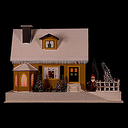Lighted House with Christmas Parlor - 27 cm / 10.6 inch