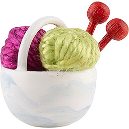 Little Basket with Wool, Pink - 1,5 cm / 0.6 inch