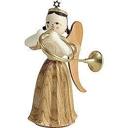 Long Pleated Skirt Angel with Alto Horn, Natural - 6,6 cm / 2.6 inch